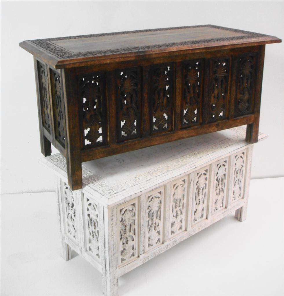 Beautiful Brown White Hand Carved Indian Wooden Coffee Table Side Tables 91x46cm Stb2va