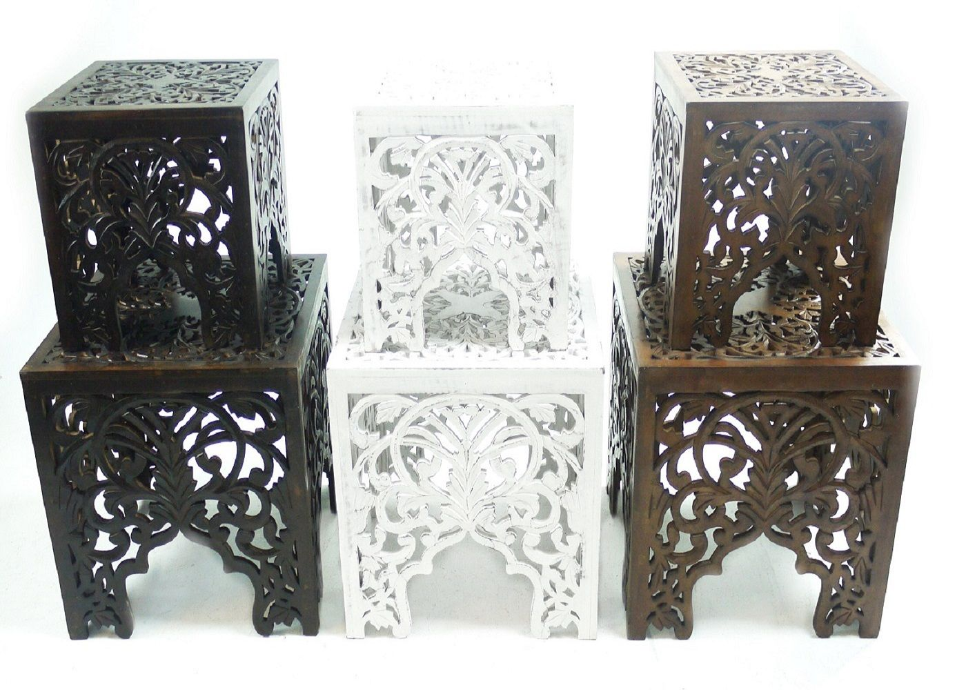 Beautiful Brown White Square Hand Carved Indian Wooden Side End Coffee Table Stb4va