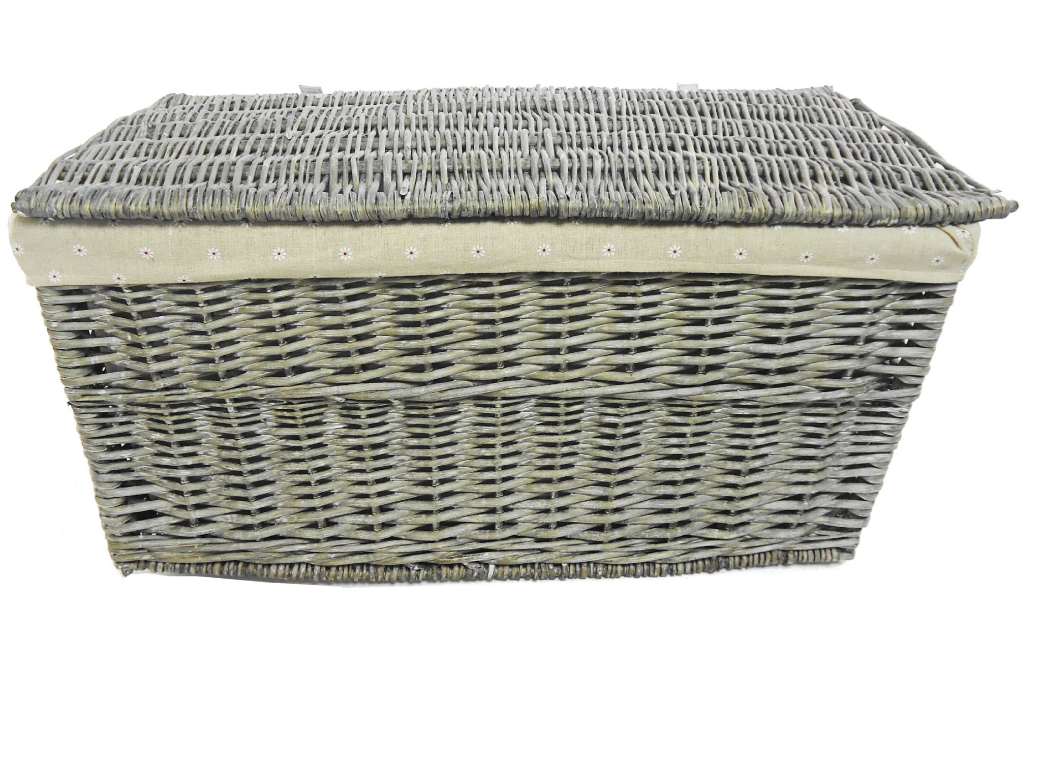 Shabby Chic White Strong Wicker Storage Chest Trunk Toy Blanket