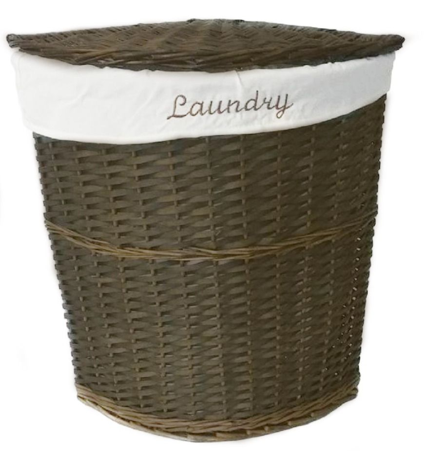 White Brown Olive Wicker Corner Laundry Basket Bin Bathroom Bedroom Storage Clbrob